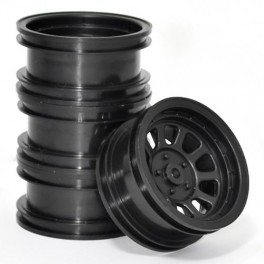 Wagon Wheels Black , Offset +1 ( set of 4 )